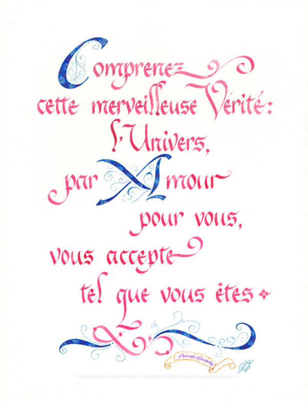 calligraphie Merveilleuse Vérité