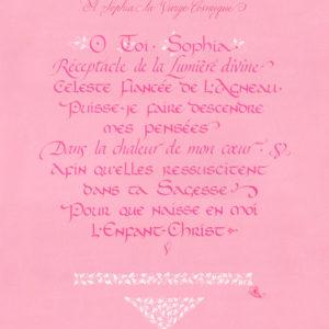 calligraphie prière Sophia Vierge Cosmique