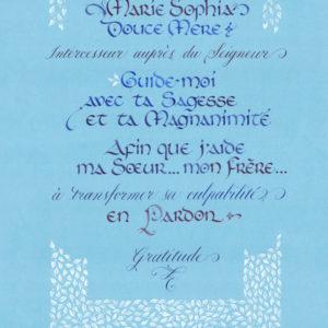 calligraphie prière Marie-Sophie Intercesseur bis