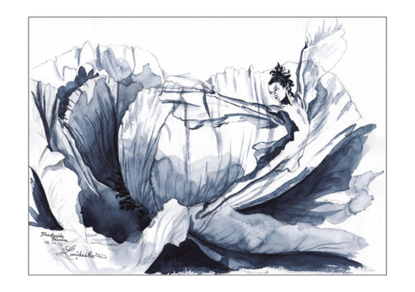dessin fée pivoine