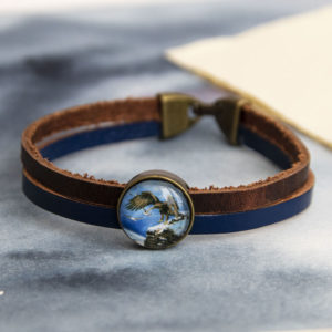 Bracelet 2 cuir aigle royal