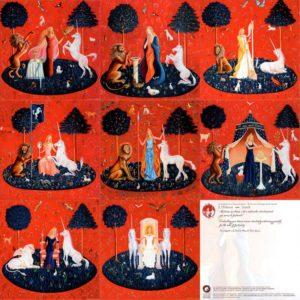 Lot 8 cartes Dame Licorne