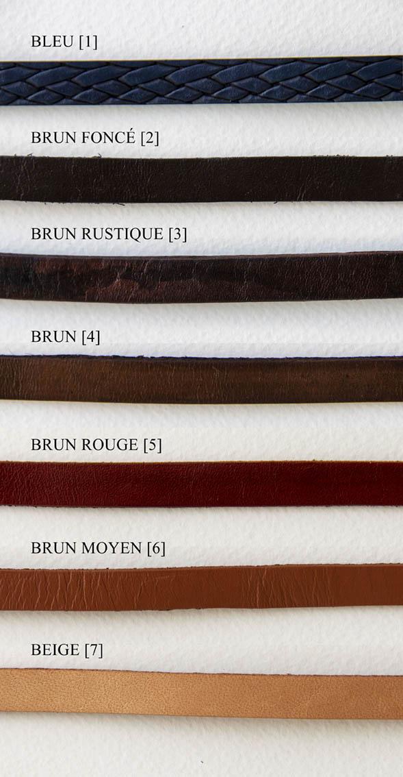Cuir couleurs brun et bleu 1 cm