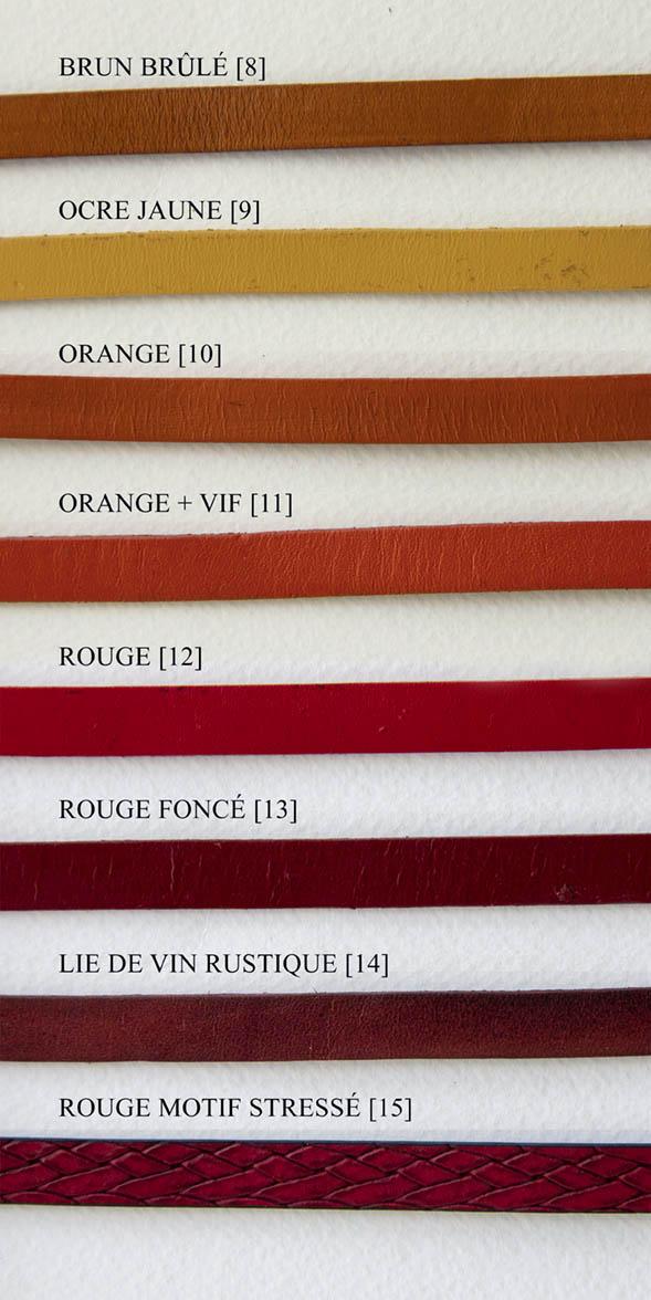 Cuir couleurs rouge, orange, jaune 1 cm